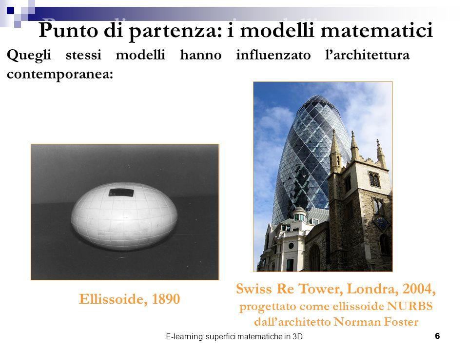 E-learning: superfici matematiche in 3D6 Punto di partenza: i modelli matematici Quegli stessi modelli hanno influenzato larchitettura contemporanea: