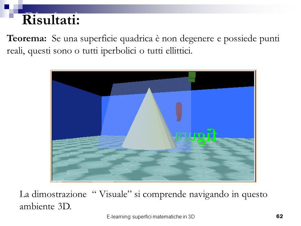 E-learning: superfici matematiche in 3D62 Risultati: Teorema: Se una superficie quadrica è non degenere e possiede punti reali, questi sono o tutti ip
