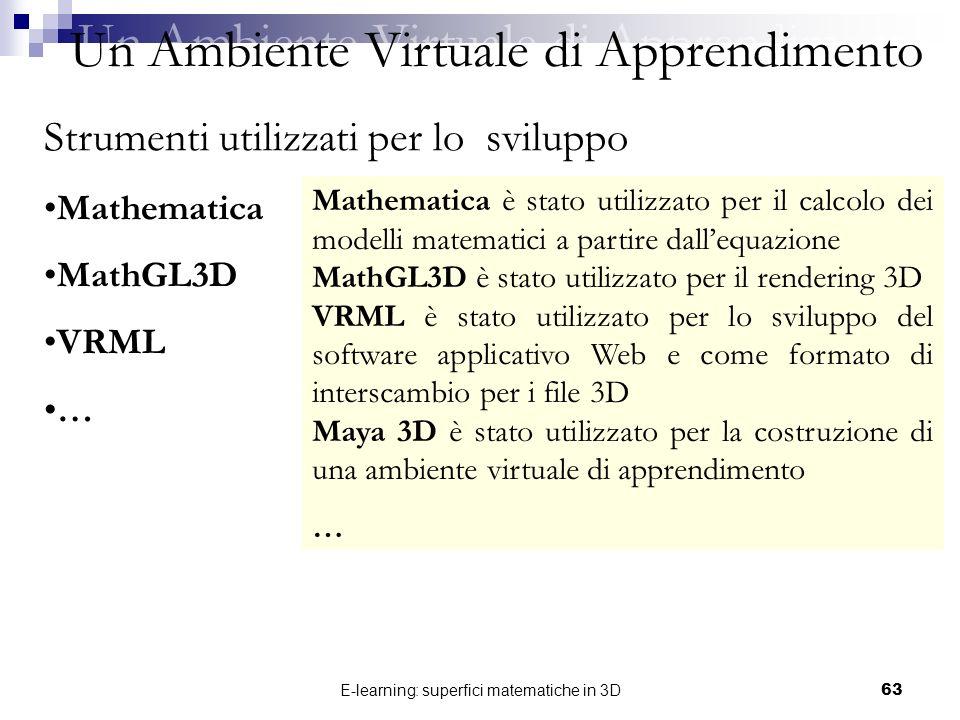 E-learning: superfici matematiche in 3D63 Un Ambiente Virtuale di Apprendimento Strumenti utilizzati per lo sviluppo Mathematica MathGL3D VRML … Mathe