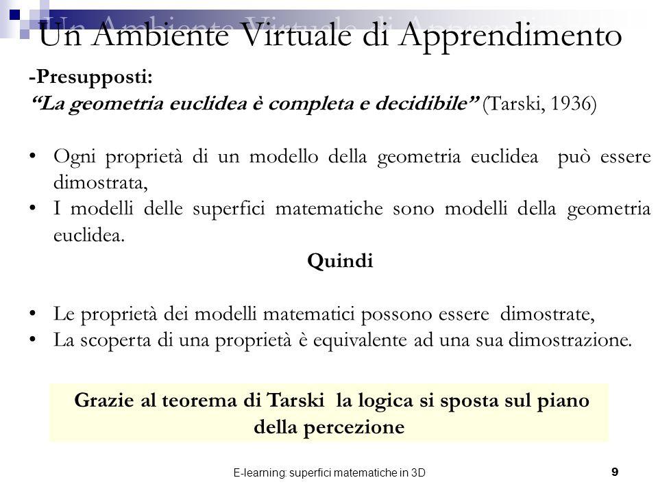 E-learning: superfici matematiche in 3D9 -Presupposti: La geometria euclidea è completa e decidibile (Tarski, 1936) Ogni proprietà di un modello della
