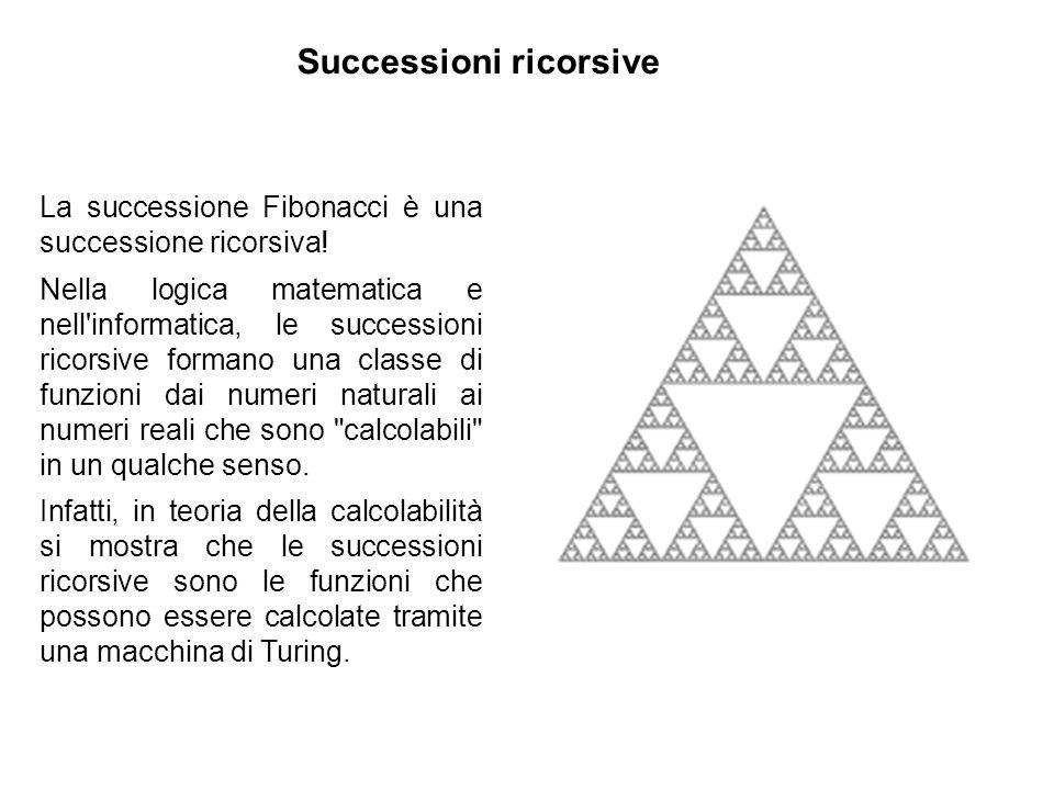 Successioni ricorsive La successione Fibonacci è una successione ricorsiva! Nella logica matematica e nell'informatica, le successioni ricorsive forma