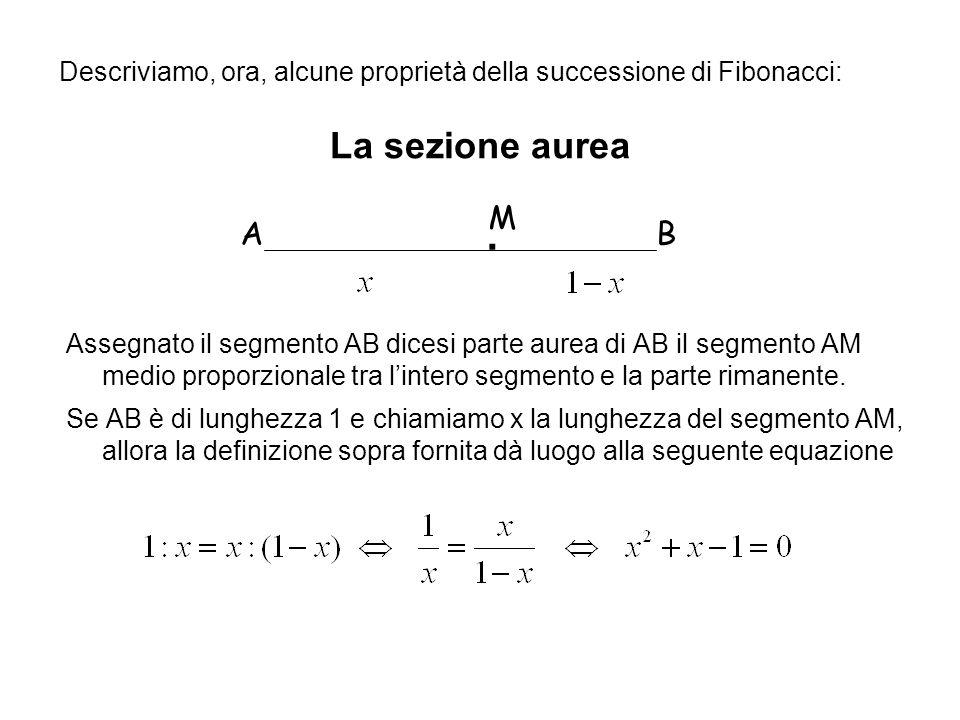 La sezione aurea Assegnato il segmento AB dicesi parte aurea di AB il segmento AM medio proporzionale tra lintero segmento e la parte rimanente. Se AB