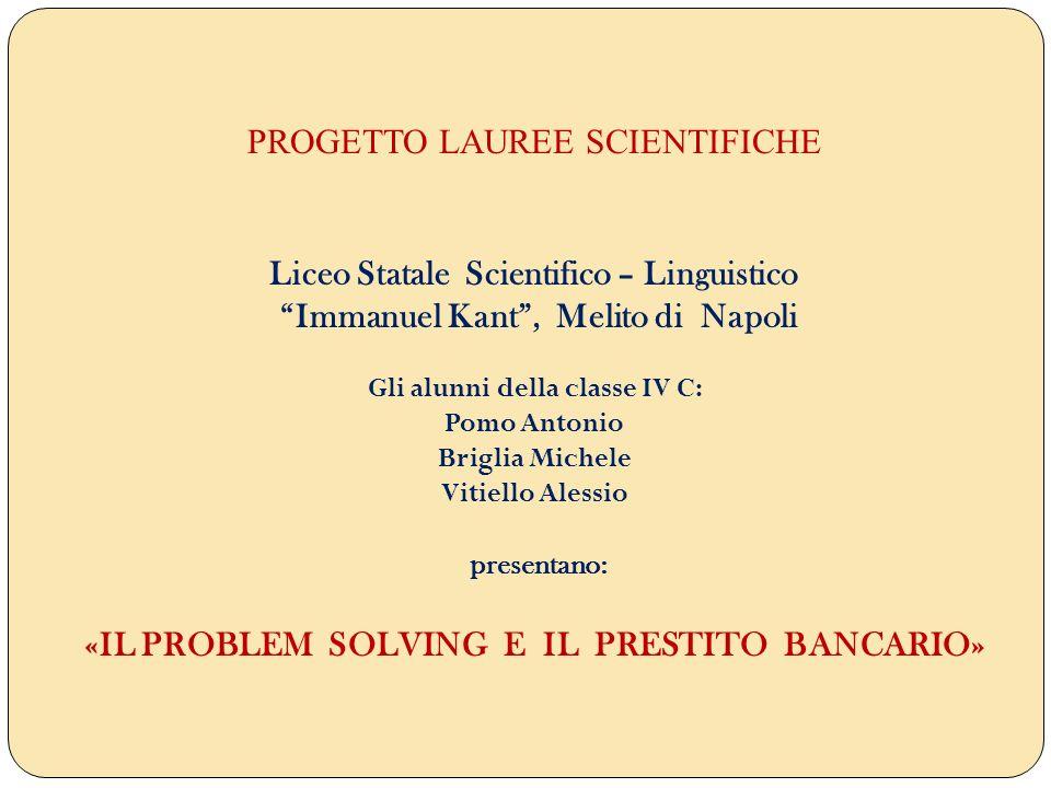 PROGETTO LAUREE SCIENTIFICHE Liceo Statale Scientifico – Linguistico Immanuel Kant, Melito di Napoli Gli alunni della classe IV C: Pomo Antonio Brigli