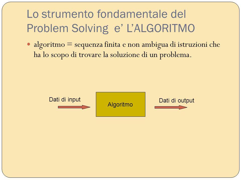 Lo strumento fondamentale del Problem Solving e LALGORITMO algoritmo = sequenza finita e non ambigua di istruzioni che ha lo scopo di trovare la soluz