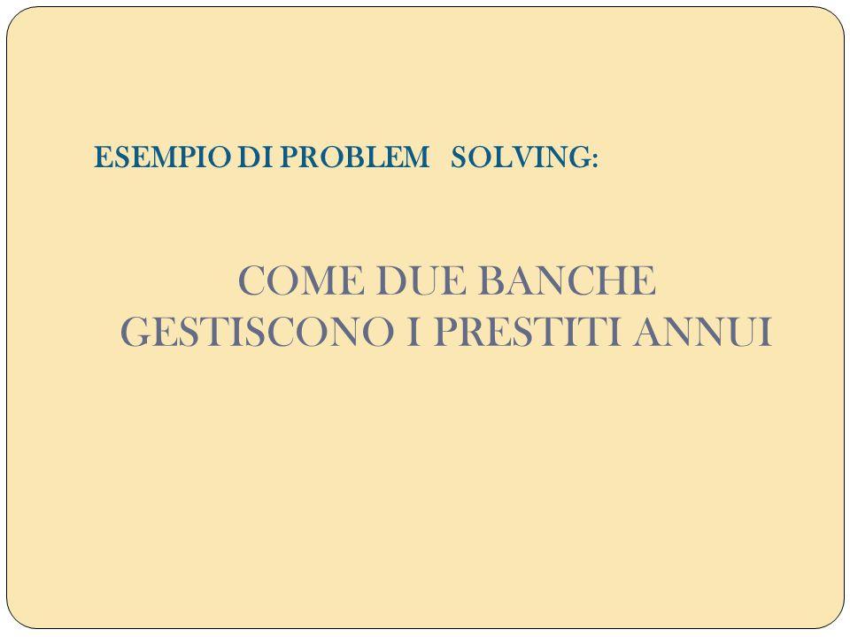 COME DUE BANCHE GESTISCONO I PRESTITI ANNUI ESEMPIO DI PROBLEM SOLVING: