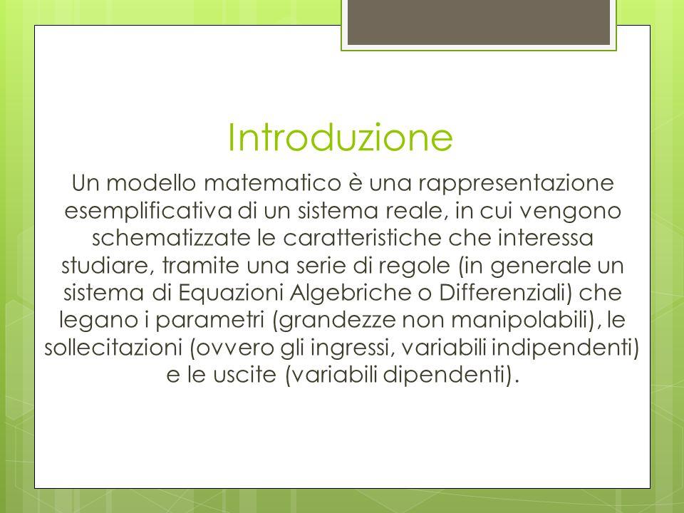 Introduzione Un modello matematico è una rappresentazione esemplificativa di un sistema reale, in cui vengono schematizzate le caratteristiche che int