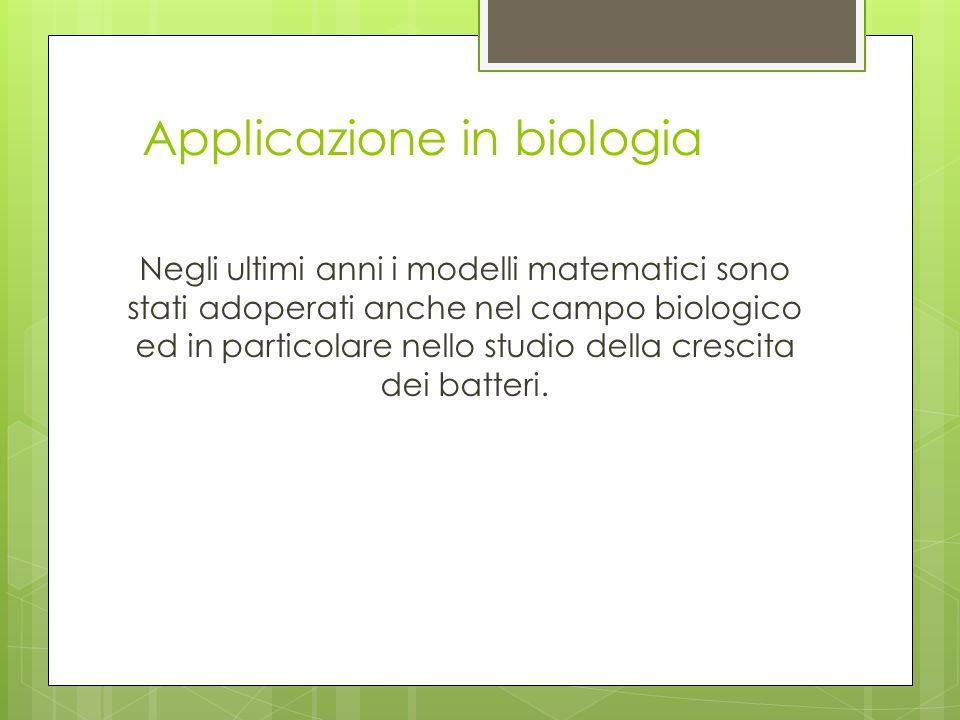 Applicazione in biologia Negli ultimi anni i modelli matematici sono stati adoperati anche nel campo biologico ed in particolare nello studio della cr
