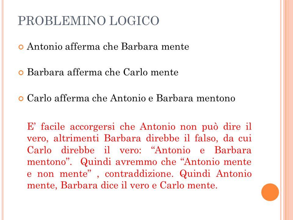 PROBLEMINO LOGICO Antonio afferma che Barbara mente Barbara afferma che Carlo mente Carlo afferma che Antonio e Barbara mentono E facile accorgersi ch