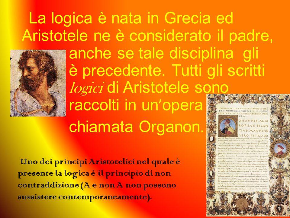 La logica è nata in Grecia ed Aristotele ne è considerato il padre, anche se tale disciplinagli è precedente.
