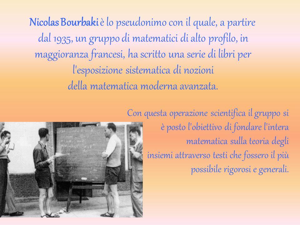 Nicolas Bourbaki è lo pseudonimo con il quale, a partire dal 1935, un gruppo di matematici di alto profilo, in maggioranza francesi, ha scritto una serie di libri per l esposizione sistematica di nozioni della matematica moderna avanzata.