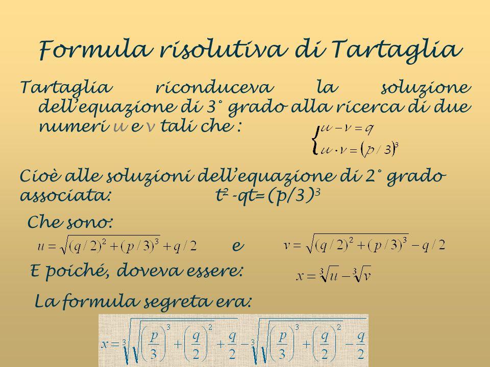 Formula risolutiva di Tartaglia Tartaglia riconduceva la soluzione dellequazione di 3° grado alla ricerca di due numeri u e v tali che : Cioè alle soluzioni dellequazione di 2° grado associata: t 2 -qt=(p/3) 3 e Che sono: E poiché, doveva essere: La formula segreta era: