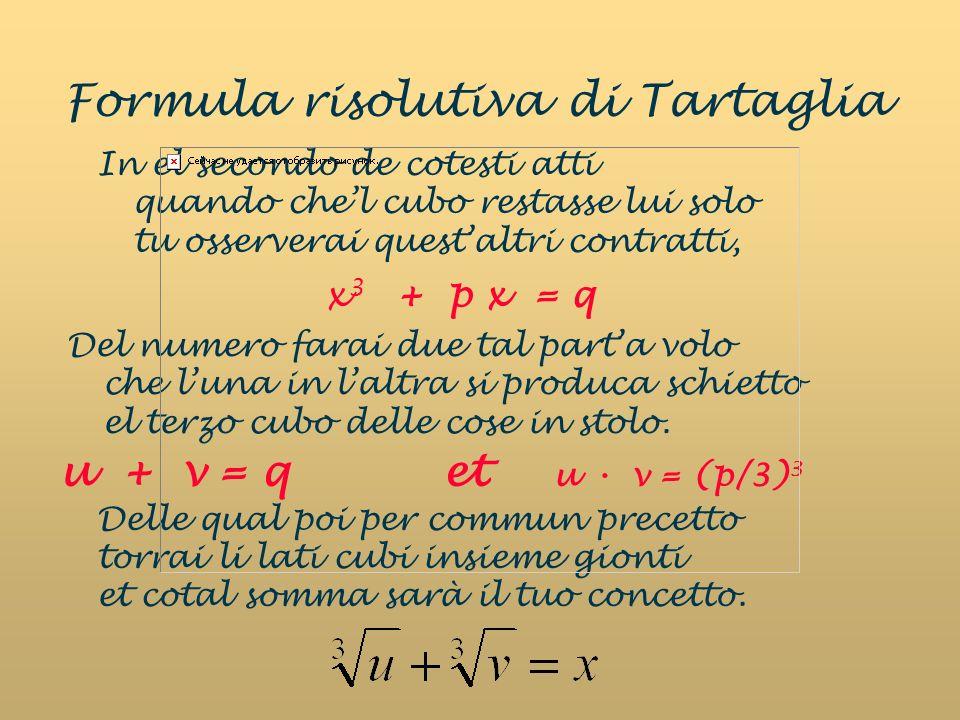 Formula risolutiva di Tartaglia In el secondo de cotesti atti quando chel cubo restasse lui solo tu osserverai questaltri contratti, Del numero farai