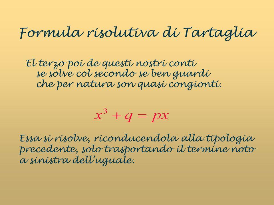 Formula risolutiva di Tartaglia El terzo poi de questi nostri conti se solve col secondo se ben guardi che per natura son quasi congionti. Essa si ris