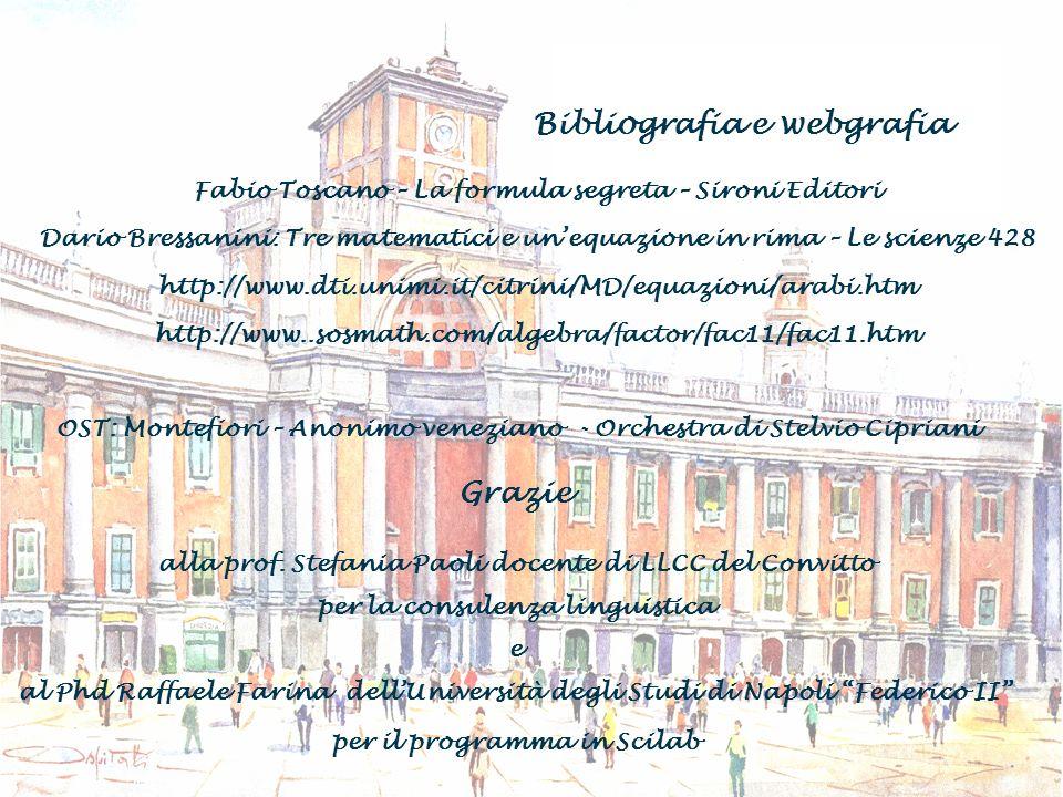 Bibliografia e webgrafia Grazie alla prof. Stefania Paoli docente di LLCC del Convitto per la consulenza linguistica e al Phd Raffaele Farina dellUniv