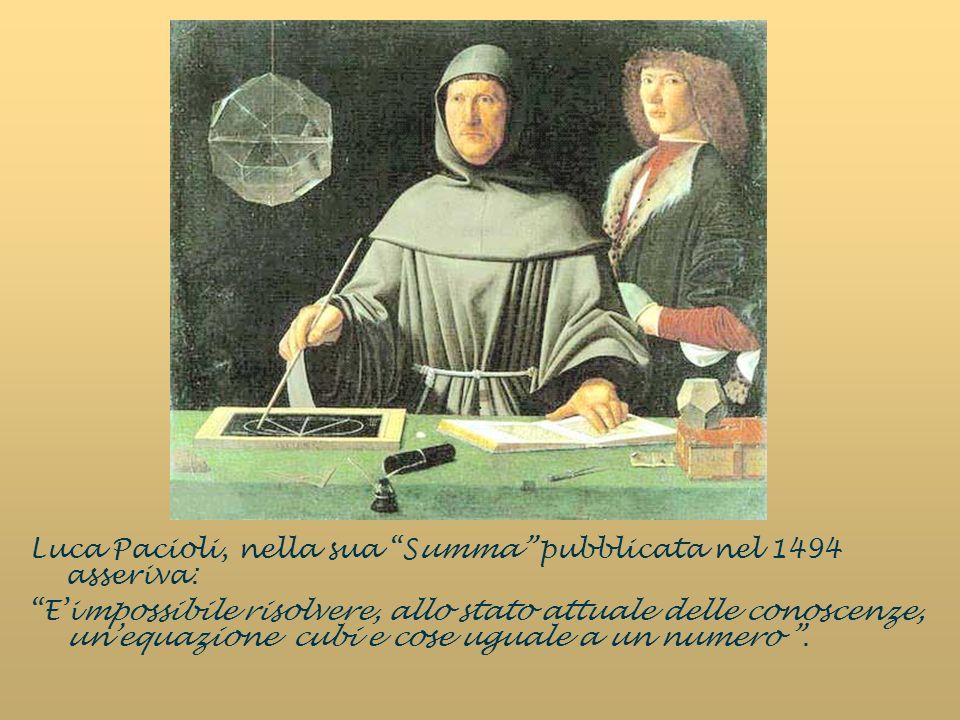 Luca Pacioli, nella sua Summa pubblicata nel 1494 asseriva: Eimpossibile risolvere, allo stato attuale delle conoscenze, unequazione cubi e cose uguale a un numero.