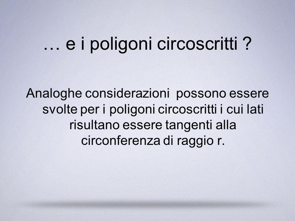 … e i poligoni circoscritti ? Analoghe considerazioni possono essere svolte per i poligoni circoscritti i cui lati risultano essere tangenti alla circ