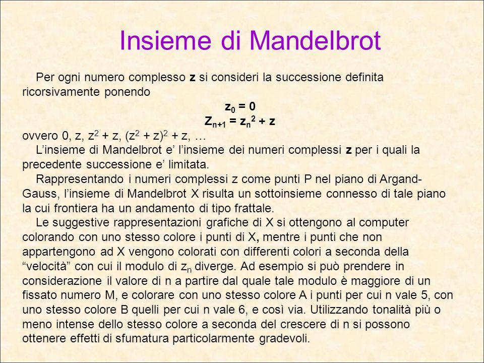 Insieme di Mandelbrot Per ogni numero complesso z si consideri la successione definita ricorsivamente ponendo z 0 = 0 Z n+1 = z n 2 + z ovvero 0, z, z
