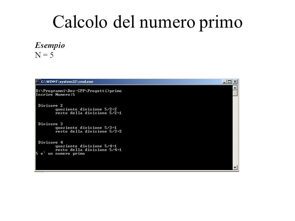 Calcolo del numero primo Esempio N = 5