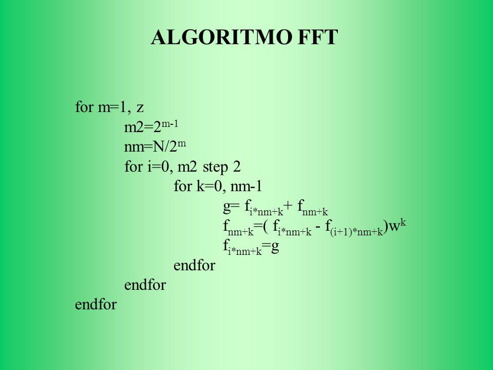 for m=1, z m2=2 m-1 nm=N/2 m for i=0, m2 step 2 for k=0, nm-1 g= f i*nm+k + f nm+k f nm+k =( f i*nm+k - f (i+1)*nm+k )w k f i*nm+k =g endfor ALGORITMO FFT