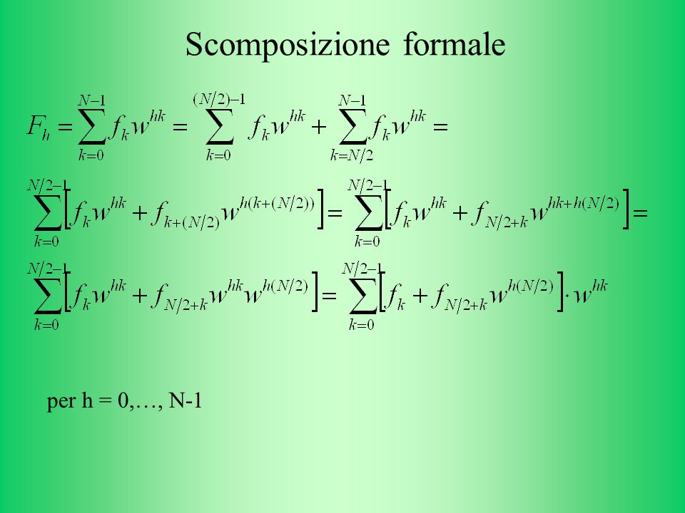 Scomposizione formale per h = 0,…, N-1