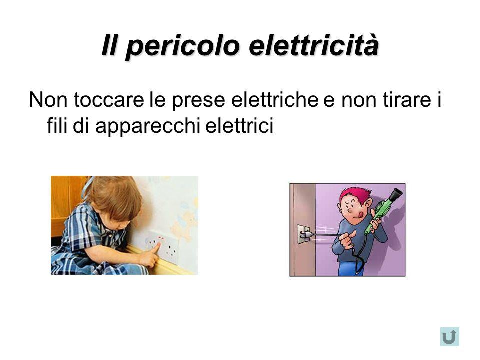 Il pericolo elettricità Non toccare le prese elettriche e non tirare i fili di apparecchi elettrici