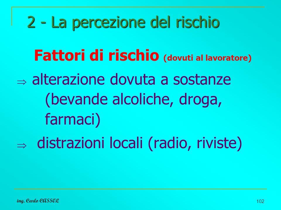 ing. Carlo CASSOL 102 2 - La percezione del rischio Fattori di rischio (dovuti al lavoratore) alterazione dovuta a sostanze (bevande alcoliche, droga,