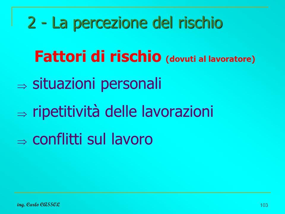 ing. Carlo CASSOL 103 2 - La percezione del rischio Fattori di rischio (dovuti al lavoratore) situazioni personali ripetitività delle lavorazioni conf