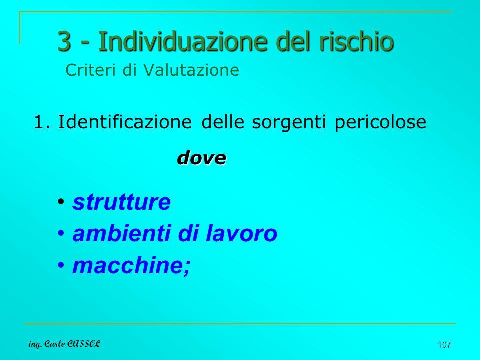 ing. Carlo CASSOL 107 3 - Individuazione del rischio 3 - Individuazione del rischio Criteri di Valutazione 1. Identificazione delle sorgenti pericolos
