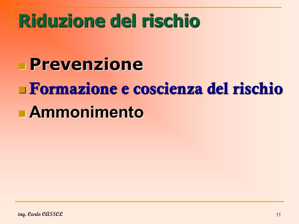 ing. Carlo CASSOL 11 Riduzione del rischio Prevenzione Prevenzione Formazione e coscienza del rischio Formazione e coscienza del rischio Ammonimento A
