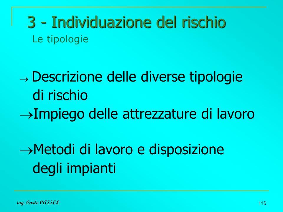 ing. Carlo CASSOL 116 3 - Individuazione del rischio 3 - Individuazione del rischio Le tipologie Descrizione delle diverse tipologie di rischio Impieg