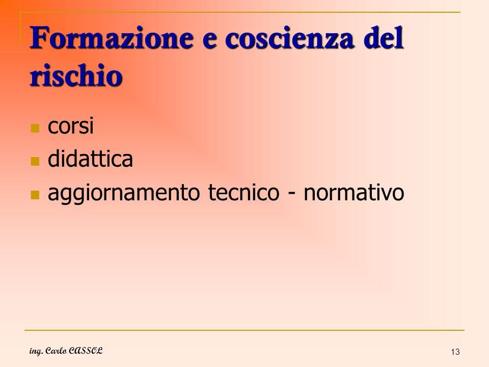 ing. Carlo CASSOL 13 Formazione e coscienza del rischio corsi didattica aggiornamento tecnico - normativo