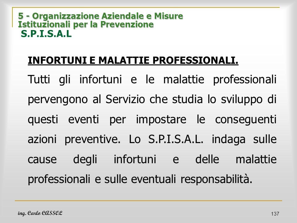 ing. Carlo CASSOL 137 5 - Organizzazione Aziendale e Misure Istituzionali per la Prevenzione 5 - Organizzazione Aziendale e Misure Istituzionali per l