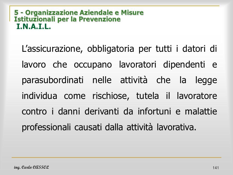 ing. Carlo CASSOL 141 5 - Organizzazione Aziendale e Misure Istituzionali per la Prevenzione 5 - Organizzazione Aziendale e Misure Istituzionali per l