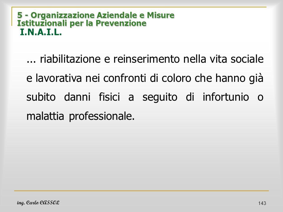 ing. Carlo CASSOL 143 5 - Organizzazione Aziendale e Misure Istituzionali per la Prevenzione 5 - Organizzazione Aziendale e Misure Istituzionali per l