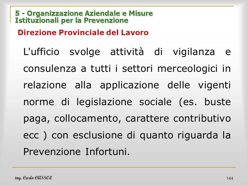 ing. Carlo CASSOL 144 5 - Organizzazione Aziendale e Misure Istituzionali per la Prevenzione 5 - Organizzazione Aziendale e Misure Istituzionali per l