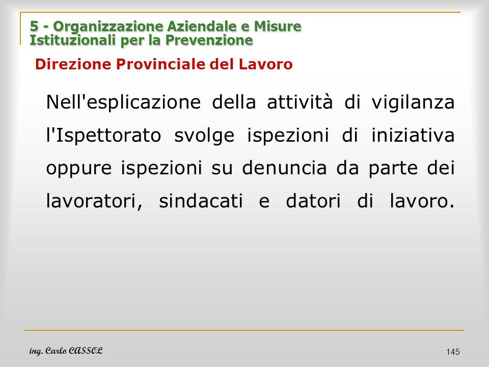 ing. Carlo CASSOL 145 5 - Organizzazione Aziendale e Misure Istituzionali per la Prevenzione 5 - Organizzazione Aziendale e Misure Istituzionali per l