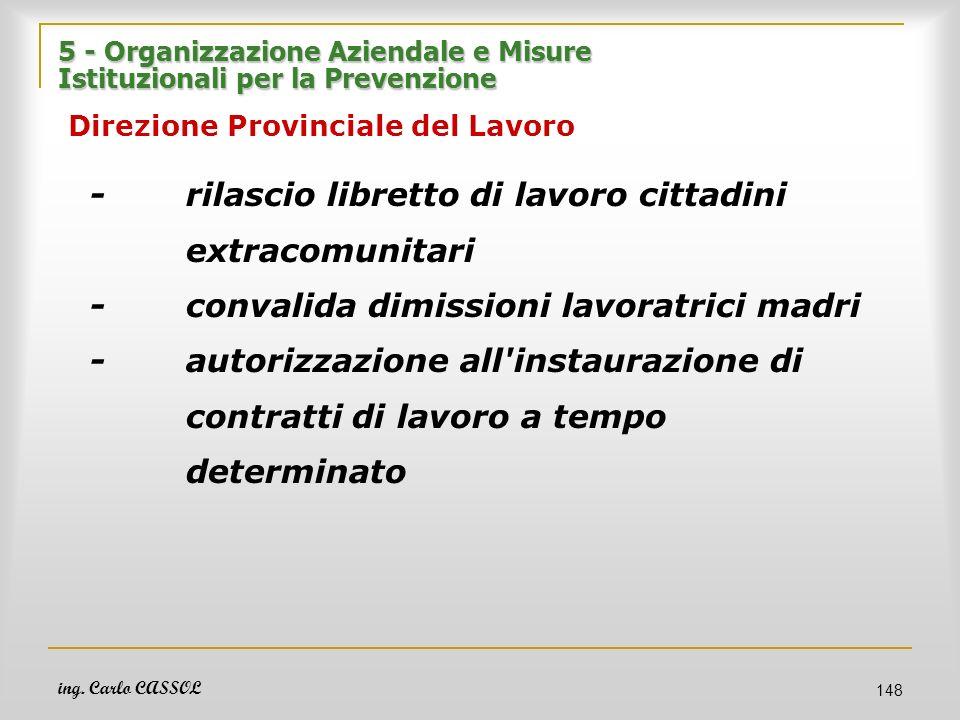 ing. Carlo CASSOL 148 5 - Organizzazione Aziendale e Misure Istituzionali per la Prevenzione 5 - Organizzazione Aziendale e Misure Istituzionali per l