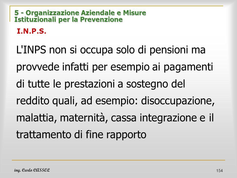 ing. Carlo CASSOL 154 5 - Organizzazione Aziendale e Misure Istituzionali per la Prevenzione 5 - Organizzazione Aziendale e Misure Istituzionali per l