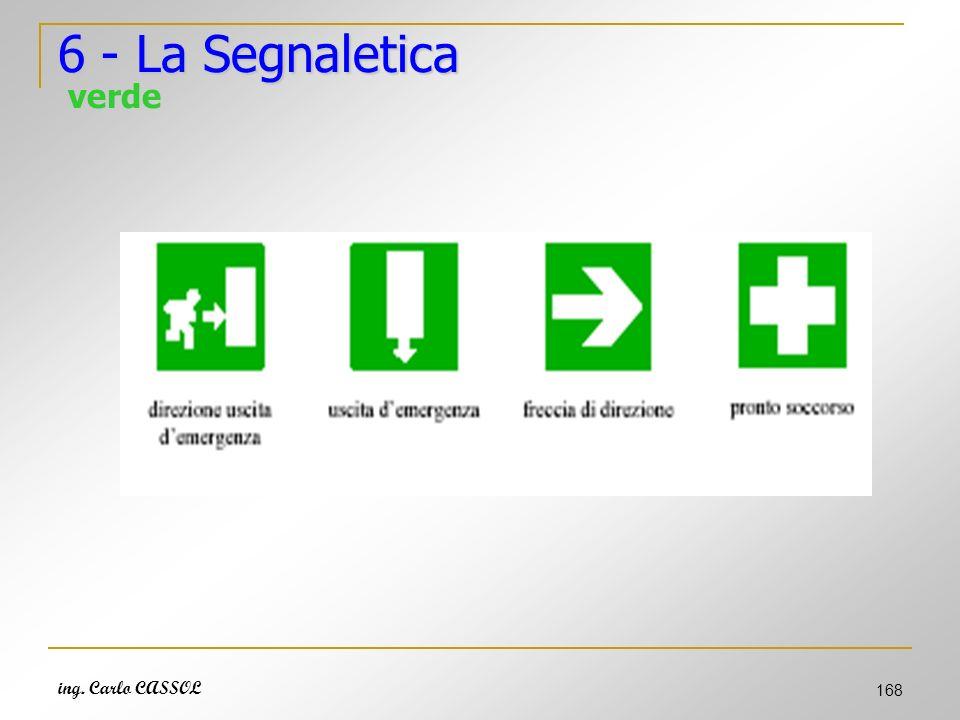 ing. Carlo CASSOL 168 6 - La Segnaletica 6 - La Segnaletica verde