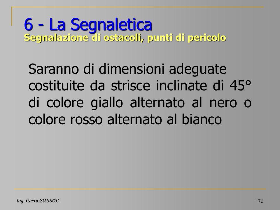 ing. Carlo CASSOL 170 6 - La Segnaletica Segnalazione di ostacoli, punti di pericolo Saranno di dimensioni adeguate costituite da strisce inclinate di