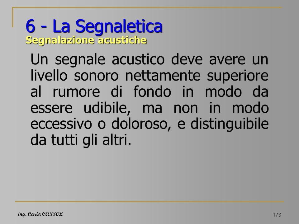 ing. Carlo CASSOL 173 6 - La Segnaletica Segnalazione acustiche Un segnale acustico deve avere un livello sonoro nettamente superiore al rumore di fon