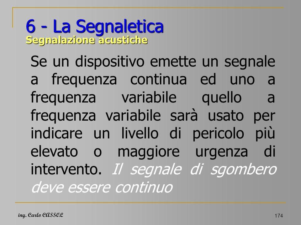 ing. Carlo CASSOL 174 6 - La Segnaletica Segnalazione acustiche Se un dispositivo emette un segnale a frequenza continua ed uno a frequenza variabile