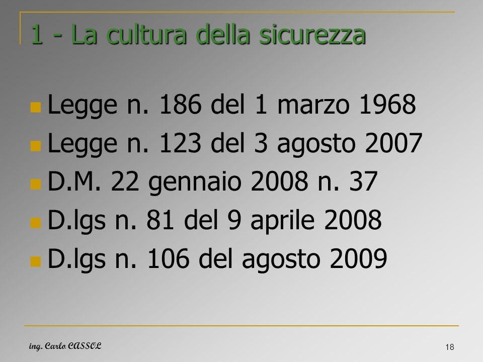 ing. Carlo CASSOL 18 1 - La cultura della sicurezza Legge n. 186 del 1 marzo 1968 Legge n. 123 del 3 agosto 2007 D.M. 22 gennaio 2008 n. 37 D.lgs n. 8