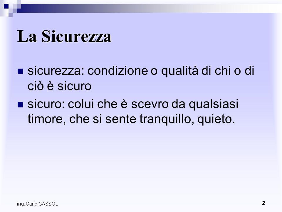 3 ing. Carlo CASSOL La Sicurezza E unopinione?