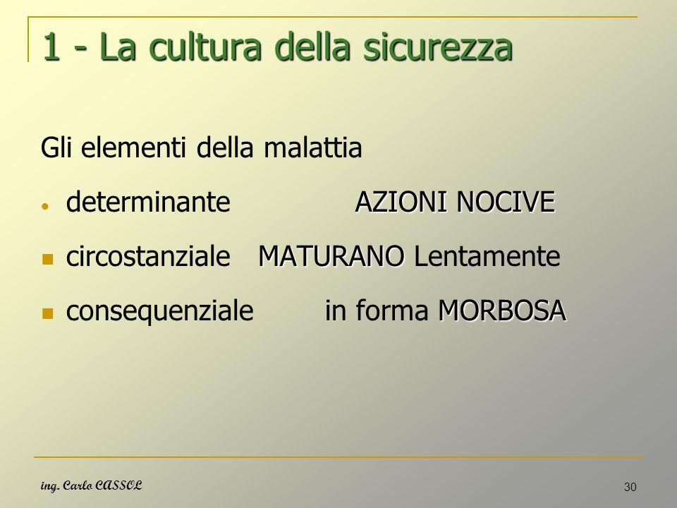 ing. Carlo CASSOL 30 1 - La cultura della sicurezza Gli elementi della malattia AZIONI NOCIVE determinante AZIONI NOCIVE MATURANO circostanziale MATUR