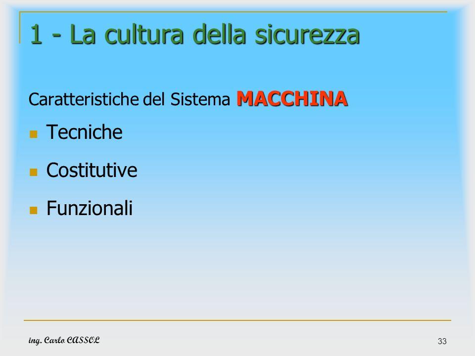 ing. Carlo CASSOL 33 1 - La cultura della sicurezza MACCHINA Caratteristiche del Sistema MACCHINA Tecniche Costitutive Funzionali