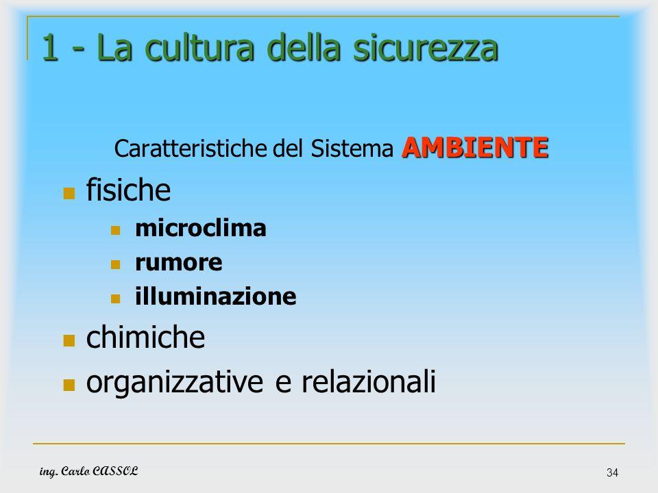 ing. Carlo CASSOL 34 1 - La cultura della sicurezza AMBIENTE Caratteristiche del Sistema AMBIENTE fisiche microclima rumore illuminazione chimiche org