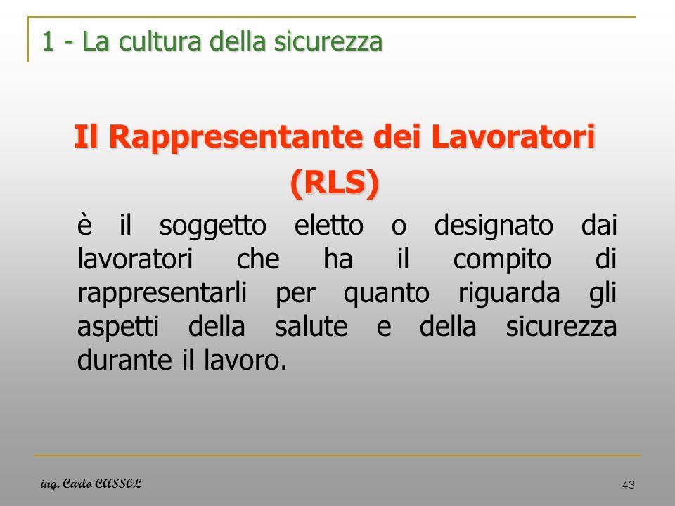 ing. Carlo CASSOL 43 1 - La cultura della sicurezza Il Rappresentante dei Lavoratori (RLS) è il soggetto eletto o designato dai lavoratori che ha il c