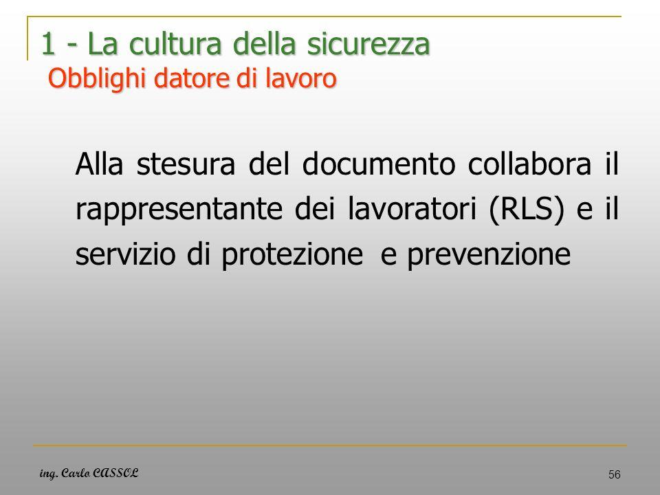 ing. Carlo CASSOL 56 1 - La cultura della sicurezza Obblighi datore di lavoro Alla stesura del documento collabora il rappresentante dei lavoratori (R