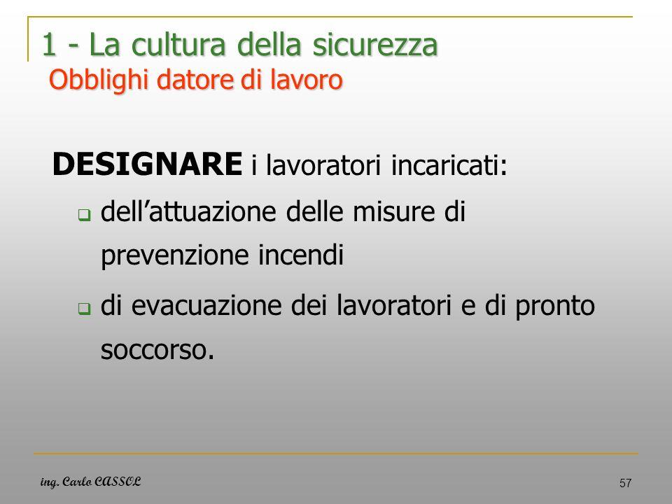 ing. Carlo CASSOL 57 1 - La cultura della sicurezza Obblighi datore di lavoro DESIGNARE i lavoratori incaricati: dellattuazione delle misure di preven